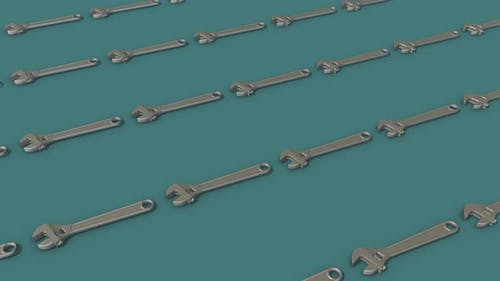 A Lot Of Adjustable Spanner Wrench In A Row 4k