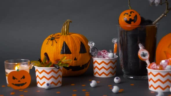 Thumbnail for Pumpkins, Candies and Halloween Decorations