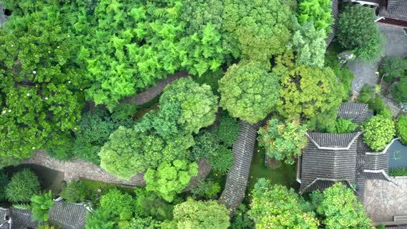 Thumbnail for Aerial of Ancient traditional garden, Suzhou garden, in China.