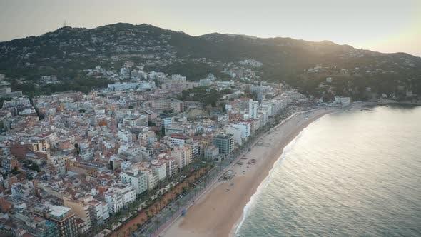 Thumbnail for Drone Flight Over Beach of Lloret De Mar Town