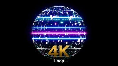 Digital Cyberpunk Neon Light Ball 4K
