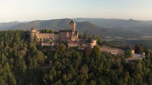 Aerial view of the Chateau du Haut-Koenigsbourg castle.