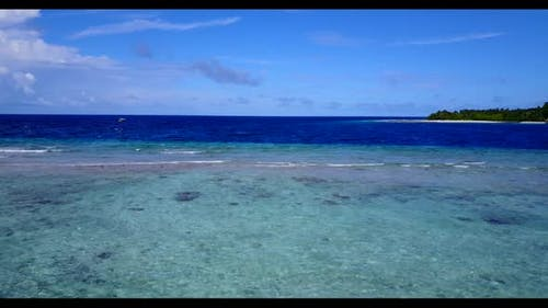 Aerial view tourism of relaxing bay beach voyage by turquoise sea with clean sandy background of adv