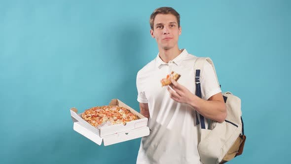 Good-looking Man with Pizza