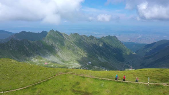 Mother With Daughters Hiking By The Fagaras Ridge 3