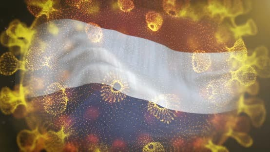 Netherlands Flag With Coronavirus Microbe Centered 4K