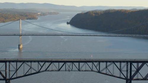 Aerial of walkway and Mid-Hudson Bridge over Hudson river