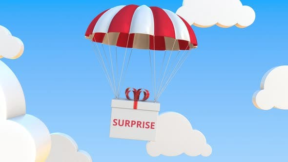 Thumbnail for Box with SURPRISE Text Falls with a Parachute