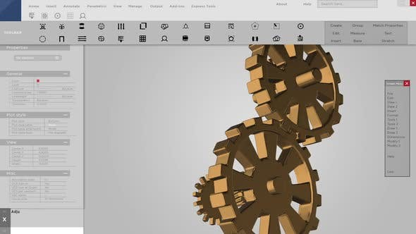 Software Interface or Mock Up of 3D Gears for CAD