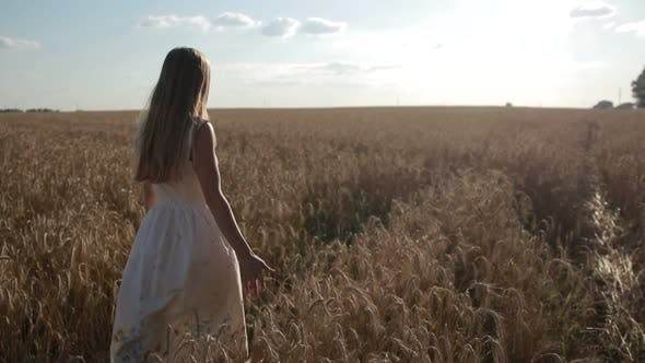 Thumbnail for Happy Woman Walking on Golden Wheat Field