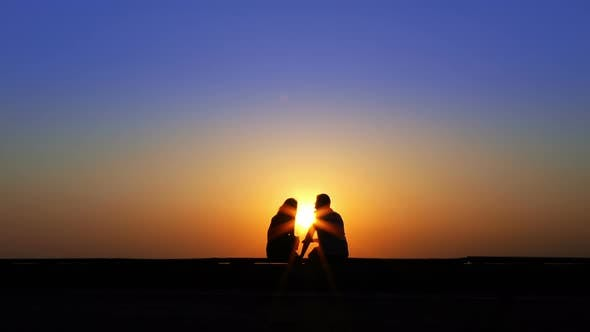 Thumbnail for Couple Lovers In Sunset Silhouette 6