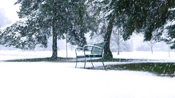 Thumbnail for Winter Village - Falling Snow - Park Bench