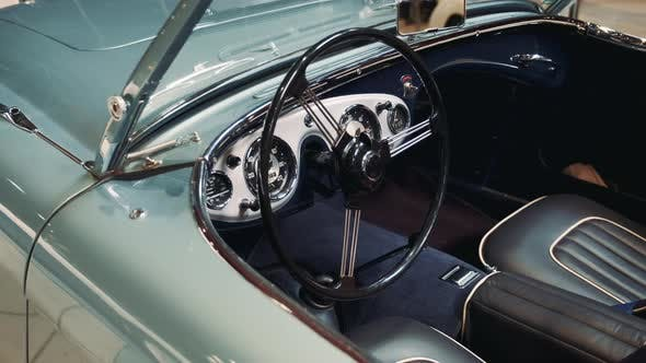Thumbnail for Interior of Sky Blue Vintage American Car