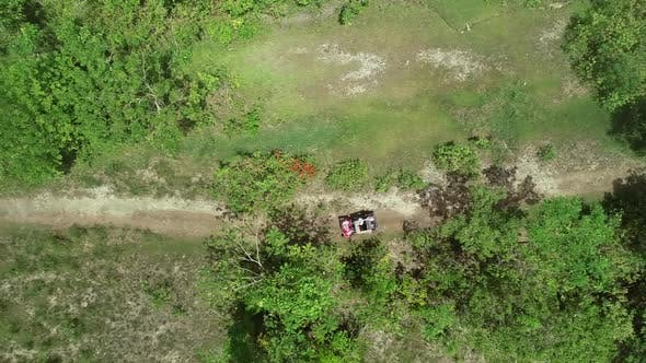 Aerial view two quadricycles doing trail next Chocolate Hills Complex, Batuan.