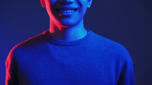 Neon Light People Positive Emotion Smiling Guy