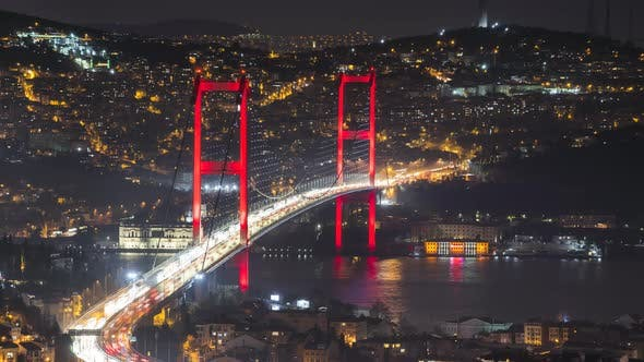 Thumbnail for Istanbul Night Time-Lapse with Bosphorus Bridge