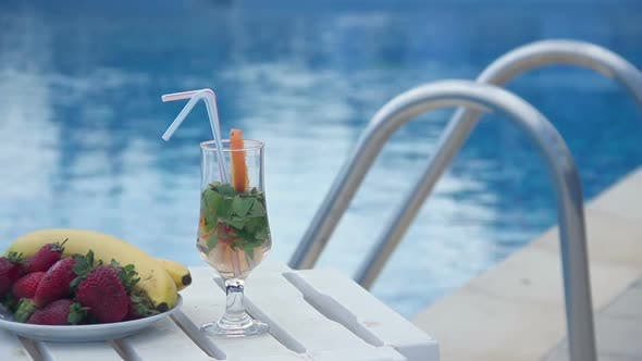 Fresh Summer Cocktail, Fruit Near Swimming Pool, All Inclusive