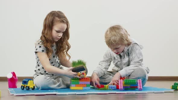 Young Brother And Sister Play Together