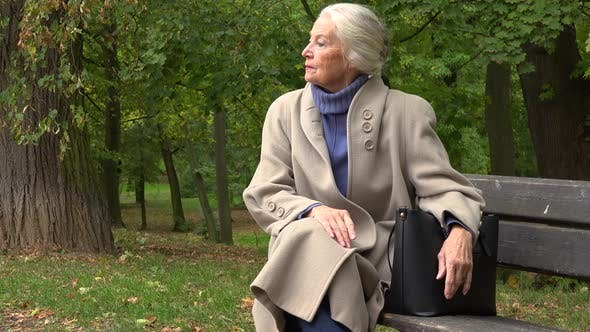 Thumbnail for An Elderly Woman Sits on a Bench in a Park and Looks Around Thoughtfully
