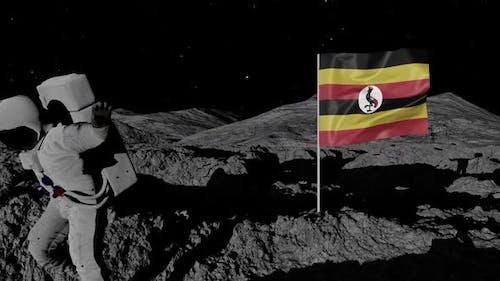 Astronaut Planting Uganda Flag on the Moon