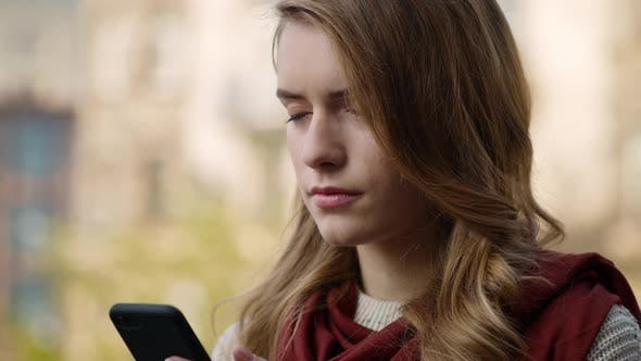 Thumbnail for Focused Woman Waiting Email on Phone Outdoors, Closeup Girl Touching Cellphone