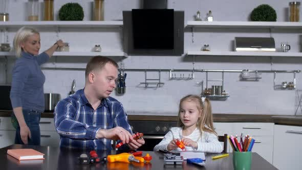 Thumbnail for Dad with Cute Girl at Shop Class in Domestic Kitchen