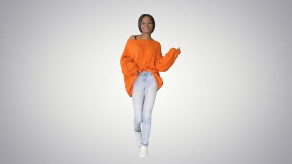 Thumbnail for African American Girl Dancing Walking on Gradient Background