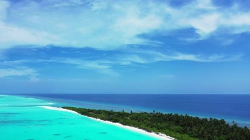 Aerial travel of exotic seashore beach voyage by turquoise lagoon with white sandy background of adv