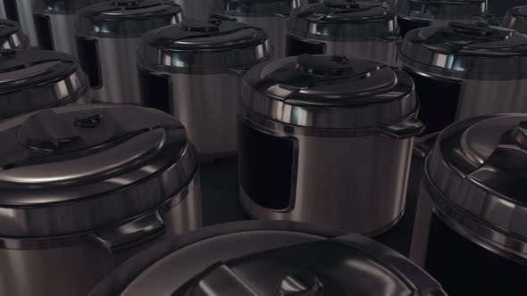 a lot of pressure cookers in a row 4k