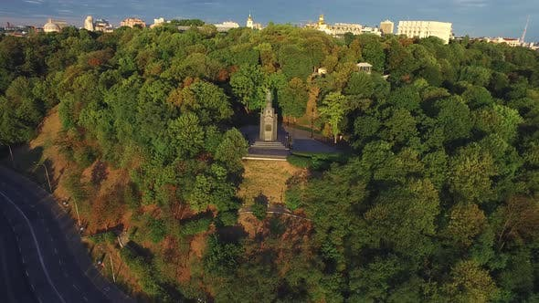 Thumbnail for Aerial View Monument Prince Vladimir in Summer Park on in Kiev City Landscape.