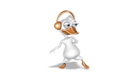 Dessin animé Duck Dance en boucle sur blanc