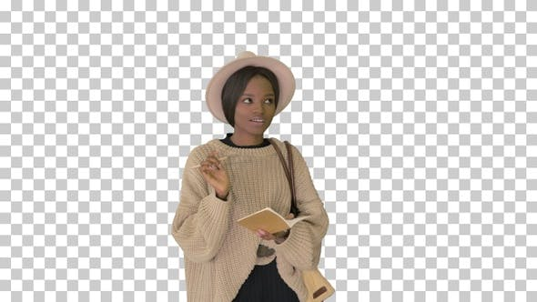 Pretty african american woman in knitted, Alpha Channel