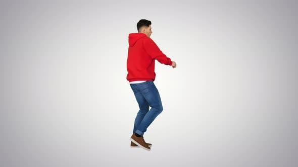 Thumbnail for Young Hip-hop Man Break Dancing Top Break Dance on Gradient Background.
