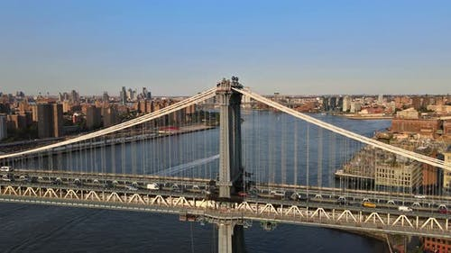 Aerial View of Cityscape of Manhattan Bridge in New York City