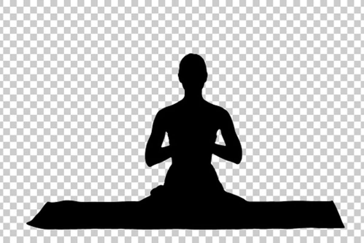 Silhouette Woman Yoga Meditating Sitting In The Lotus Position By Funkeyrec On Envato Elements