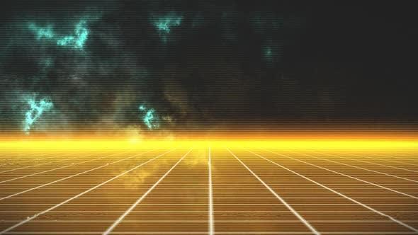 Animation de la grille jaune en mouvement