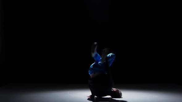 Thumbnail for Boy in Blue Trousers Dancing Breakdance, on Black, Shadow