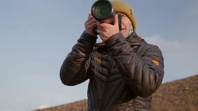 Photographer Focusing Camera At Fagradalsfjall Volcano
