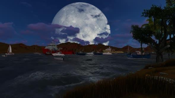 Sailing ships and ships at night