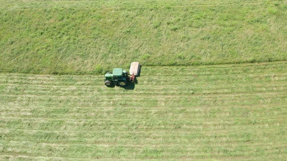 Thumbnail for Green Tractor Hay Cutter Aerial View