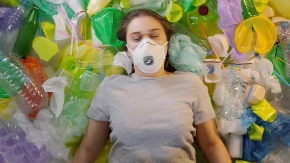 Girl In Breathing Mask Fights For Ecology