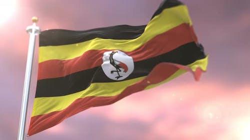 Flag of Uganda at Sunset