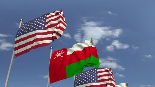 Flags of Oman and the USA at International Meeting
