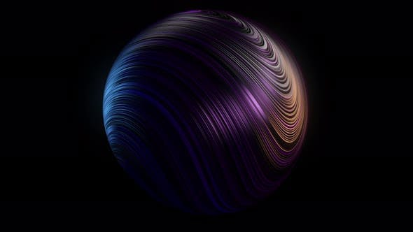 Beautiful sphere with many bended neon stripes