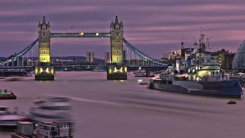 HDR time-lapse of the Tower Bridge in London