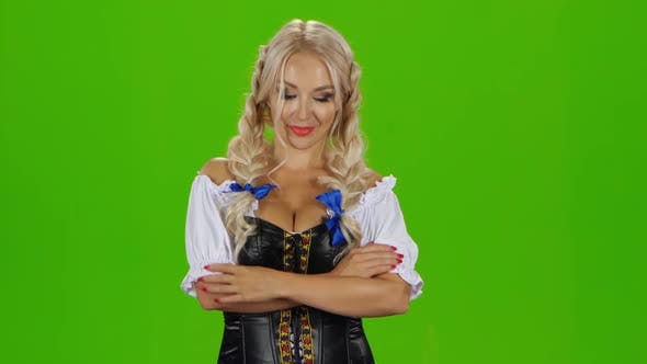 Thumbnail for Oktoberfest Girl with Beer, Bavarian Girl, Green Screen