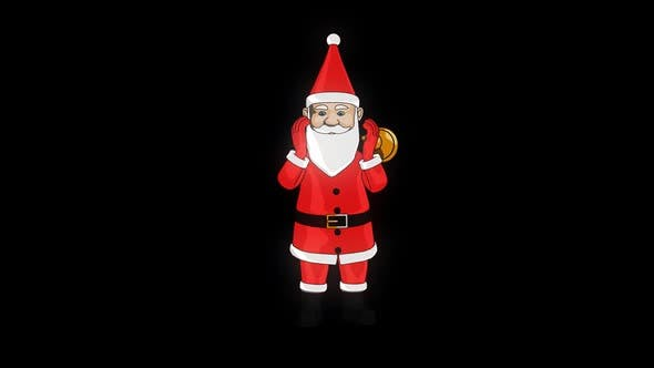 Thumbnail for Santa Ringing Christmas Bell With Transparent Background