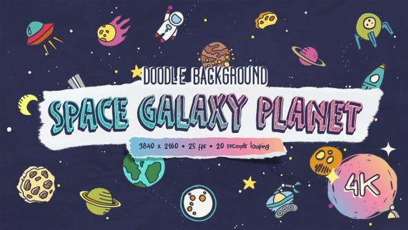 Thumbnail for Doodle Background - Space Galaxy Planet