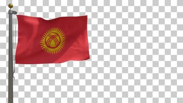 Kyrgyzstan Flag on Flagpole with Alpha Channel - 4K