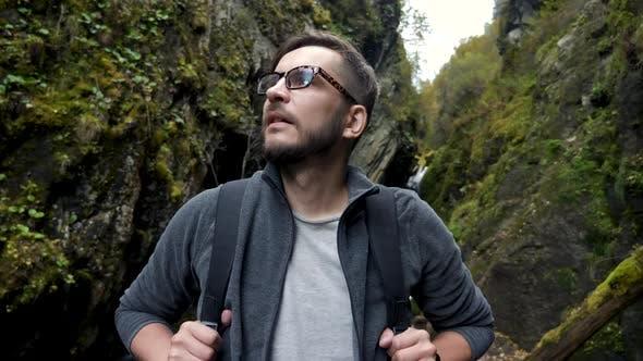 Thumbnail for Cheerful Camping Hiker Guy Exploring Natural Surroundings Face Closeup Concept
